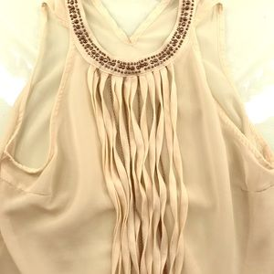 Cream beaded flowing blouse